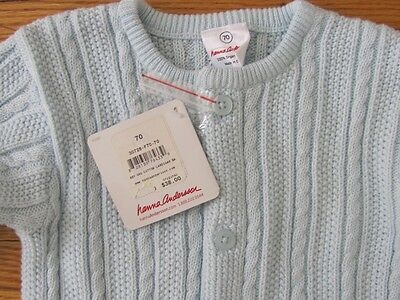 NEW $38 Hanna Andersson Organic Cotton Infant Cardigan Cable Sweater Blue 6-12
