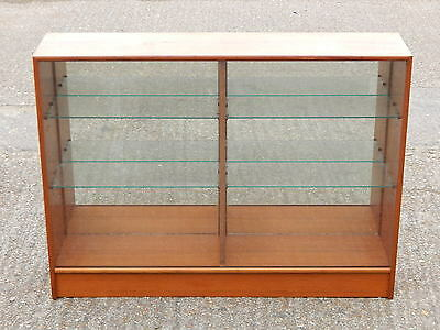 Mid century Turnidge vintage glazed teak bookcase china display cabinet mirrored