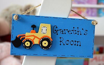 Personalised kids Boys digger bedroom door plaque sign 15x7 cm