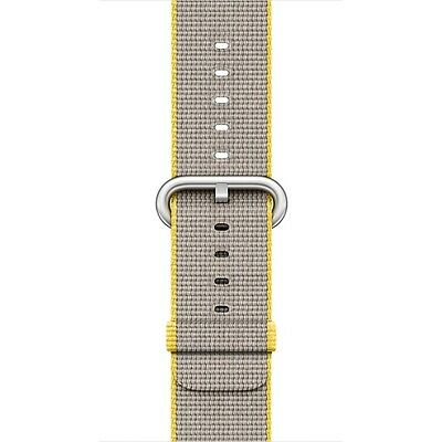 Apple - Woven Nylon for Apple Watch 38mm - Yellow/Light Gray MNK72AM/A