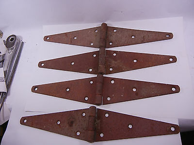 "SET OF 4 vintage antique STRAP BARN DOOR HINGES Rusty Old 16""x3-3/8"" E229"