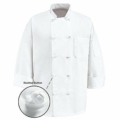 NEW 350 Chef Apparel 10 Knot Button Chef Coat-Easy-Care Twill - White size Large