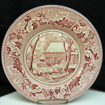 Vintage HISTORIC AMERICA Pink JOHNSON BROS, 2 Service Plates FROZEN THANKSGIVING