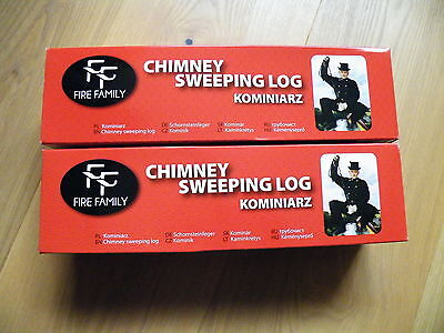 2x CHIMNEY CLEANING LOG SWEEPER *******SPECIAL OFFER****** RED BOX