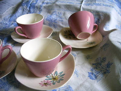 Four Vintage Midwinter Coffee Cups/saucers.fashion Shape 50S