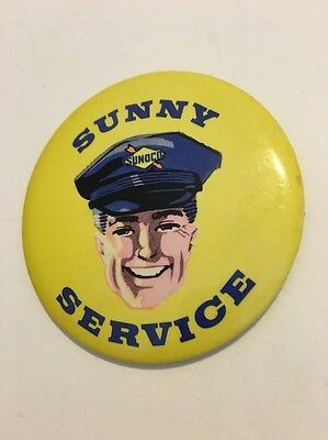 Vintage Sunoco Sunny Service Oil Gasoline Gas Station Pinback Pin Sign - RARE!!!