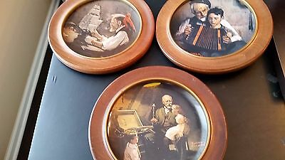 """Lot of 3 Norman Rockwell Collectors Plates Knowles  """" CRAFTSMANSHIP"""""""