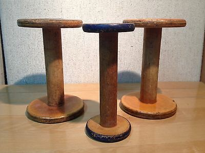 3 Large  Antique / Collectible Vintage Wooden Thread Spools