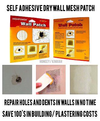 4x SELF ADHESIVE STICK MESH DRY WALL PATCH REPAIR FOR WALL WALLS CEILING PLASTER