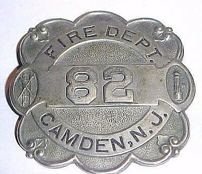 Antique Fire Department Badge Camden  New Jersey Early 1900's  Mfg Marked