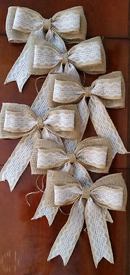 Burlap wedding bows.  Lot of 6.   Rustic wedding decor