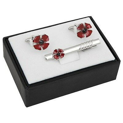 GIFT BOXED Equilibrium Silver Plated Poppy Cufflinks & Tie Pin Set Remembrance