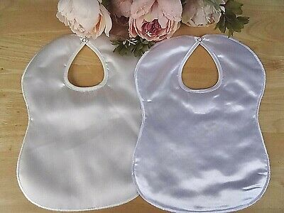 Baby Girl Boy White or Ivory Satin Bib Christening Special Occasion Lined Padded