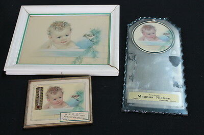 vintage 3 piece curly baby bird evergreen thermometer picture mirror advertising