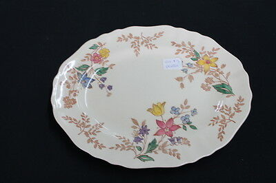 vintage shabby cream pink blue yellow floral Cotswald platter Made in England