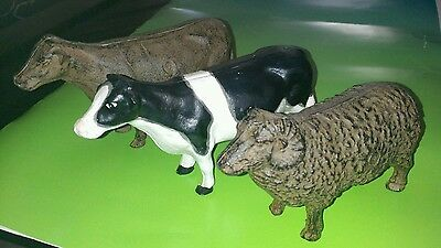 Vintage Cast Iron Barnyard Animals Two Cows and Sheep/Ram