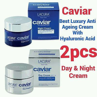 2X50ml LACURA HYALURONIC ACID EXTRACT BEST ANTI AGEING CAVIAR DAY & NIGHT CREAM