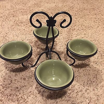 Lonaberger Wrought Iron Dessert Or Dip Caddy with 4 Sage Pottery Bowls