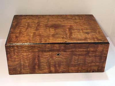 Beautiful Wood Antique Humidor Cigar Box Vtg Lined Inside Early