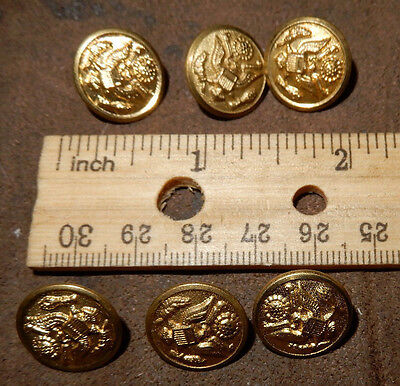 """Lot Of 6 Us Army Brass Eagle Buttons 5/8"""" Class Scovill Mfg Co. A Coat Buttons"""