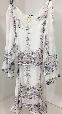 Jessica Simpson Maternity Women's Sheer Floral Blouse White Large Nwt