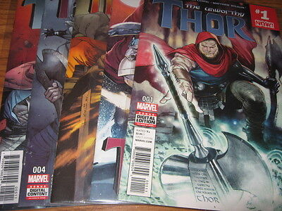 THE UNWORTHY THOR #1, 2, 3, 4, 5 NM AARON, COIPEL 1st app All New Ultimate Thor