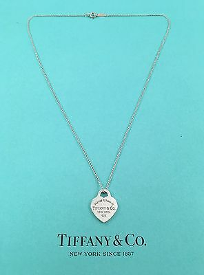 """Tiffany & Co Silver SMALL Heart Tag Pendant Necklace On A 18"""" Inch Chain."""