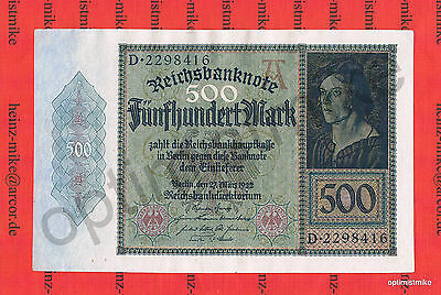 1 x 500 Mark aUNC Ros.70 Pick 73 Germany Inflation