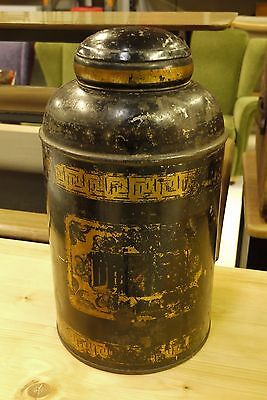 Antique Tole Ware Tea Tin Canister and Lid Lidded Pot Greek Key Pattern Black -B