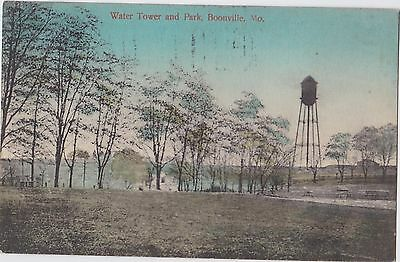 Water Tower And Park Boonville Mo 1909 Barr- Fyke Cancel A.m. Simon Postcard