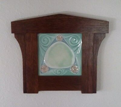 Original Antique English Art Nouveau Tile w/ Arts & Crafts Frame Geometric