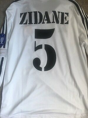 Real Madrid Jersey Home Zidane 2002 Centenario Champions League Sz L Long Sleeve