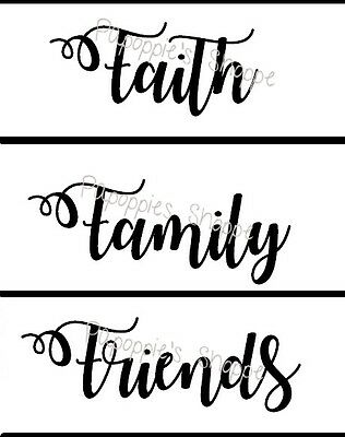 Stencil Lot of 3 Script Font FAITH FAMILY FRIENDS You Choose Sizes for Signs