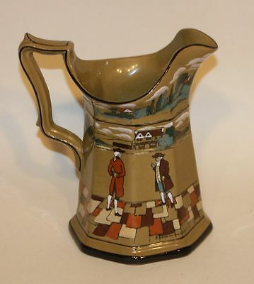 Buffalo Pottery Deldare Ware Pottery 7 Inch Octagonal Pitcher Artist Signed