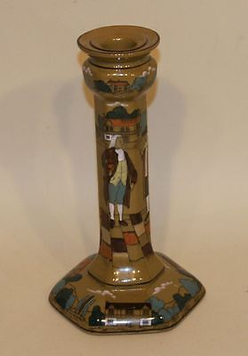 Buffalo Pottery Deldare Ware Art Pottery 9 Inch Octagonal Candlestick Signed
