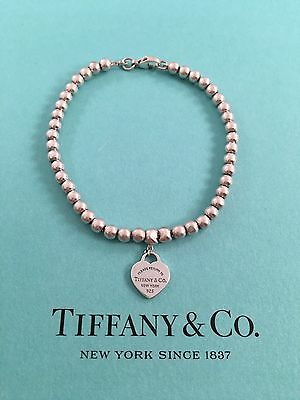 "Tiffany & Co Sterling Silver Mini Heart Bead Bracelet 7"" Medium. RRP $250"