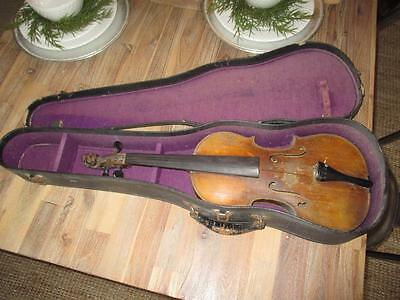 Vintage Lion Head 4/4 Violin 1941 Repair Tag Inside