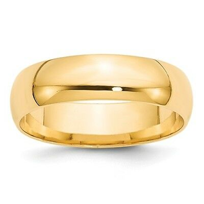 14k Yellow Gold 6mm Engravable Comfort Fit Band