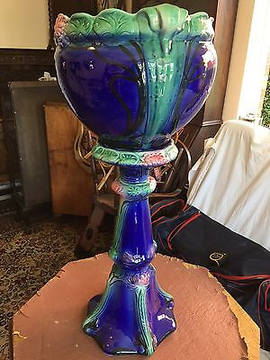 Vintage Retro Blue And Green Majolica Style Jardiniere Pedestal Plant Stand