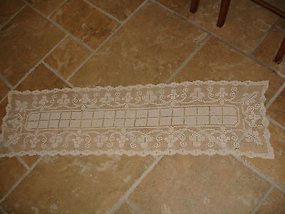 "Antique Hand Made Table Runner - Dresser Scarf 50"" x 13"" MINT"