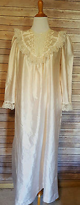 Christian Dior Womens Vintage Night Gown Lace 70s 80s Size Medium Blush Pink