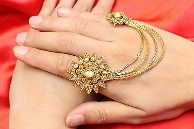 Indian Bollywood Ethnic Gold Plated Kundan Chain Adjustable Finger Ring Jewelry