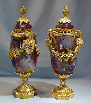 French Neo-Classical Gilt Bronze Pair Color Crackled Glass Potpourri Lidded Urns