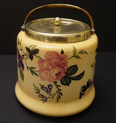 Atique Vinage EPNS Biscuit Barrel Cookie Jar English with Roses and Butterfly