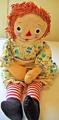 Antique Vintage ! 1920  Early Raggedy Ann Doll Georgene Tag! Well Loved