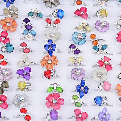 Fashion Lot 30PCS Girls Mixed Colorful Children's Jewelry Crystals Alloy Rings