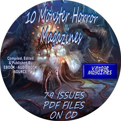 10 Monster Horror Vintage Magazines - 79 Issues - Multiples Of Each - Pdf - Cd