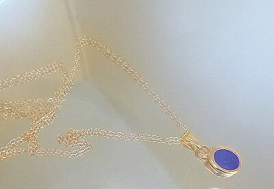 Solid 14k Gold  20 inch chain with 2 Ct Oval Lapis Pendant A+