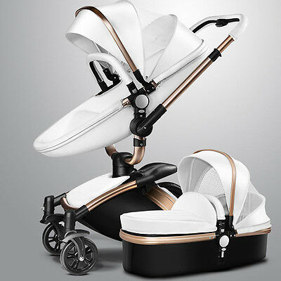 Baby stroller 2 in 1 leather Carriage Infant Travel Foldable Pram pushchair Hot!