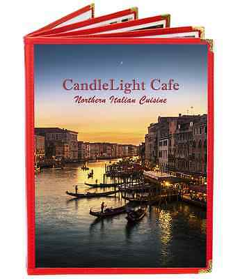 Cafe menu covers, 5 pages, 10 views, 8.5x11, Burgundy nylon.  $125 FOR 25.